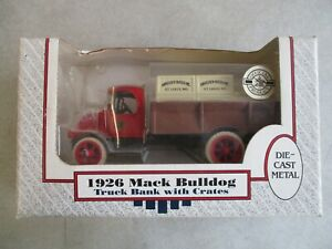 MIP VINTAGE 1989 ERTL 1926 MACK BULLDOG TRUCK BANK WITH CRATES