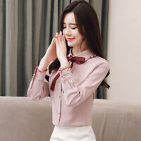 New Womens Bow Tie Neck Long Sleeve Casual Office Work Chiffon Blouse Shirts Top
