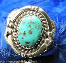 Turquoise Hand Crafted Vintage Men's 0.925 STERLING SILVER Band Ring size 11.5