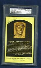 Sam Rice Washington Senators Baseball Autographed HOF Plaque Postcard PSA SLAB