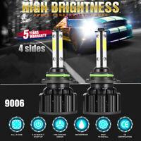 Pair 4-Sides 9006 HB4 2900W 290000LM LED Headlight Kit Hi/Lo Power BulbS 6000K ~