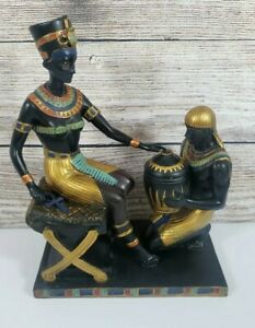 """Design Toscano Egyptian Statue Nefertiti And Male Black Gold 10"""" Figure Home"""