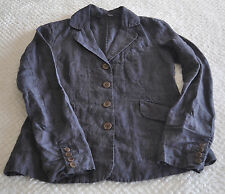 Eileen Fisher 100% Linen Charcoal Gray Lightweight Jacket Size 2
