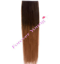 Clip-en el Dip Dye Ombre Remy Human Hair Extensiones marrón medio a Auburn
