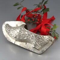 "Vintage French Tinned Metal Christmas Chocolate Mold ""Wooden Shoe"", 9 ¼ inches"