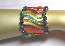 breites Armband Perlen Glas Plastik bunt elastisch NEU