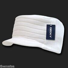 WHITE KNIT FLAT TOP JEEP CADET  VISOR BEANIE MILITARY HAT CAP