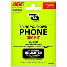 Genuine Straight Talk AT&T NANO SIM Card Activation Kit GSM LTE   3-in-1 CARD!