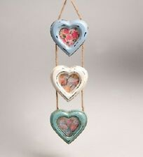 Triple Heart Hanging Photo Frame Blue Cream Shabby Chic Delilah by Sass & Belle