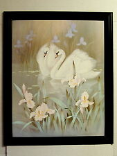 SWAN PICTURE WHITE SWANS LILIES FRAMED 16X20