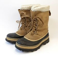 SOREL Caribou Waterproof Boots UK7 Beige Leather & Rubber Hiking/Outdoor Shoes