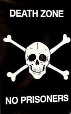 Skull Poster~Jolly Roger 1987 Crossbones Death Zone No Entry Prisoners Print Bw~