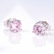 Round Pink Crystal Rhinestone Silver Gold Filled Women Lady Party Stud Earrings
