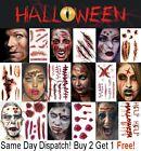 Halloween Tattoos Fancy Dress Make up FX Fake Scars Wounds Cuts Horror Blood UK