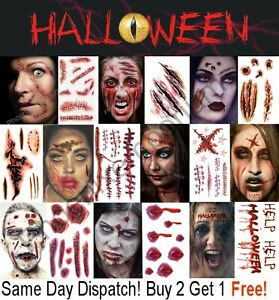 Halloween Tattoos Fancy Dress Make up FX Fake Scars Wounds Cuts Horror Blood UK