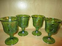 Indiana Glass 4 Iridescent Green Carnival Harvest Grape Goblets Vintage