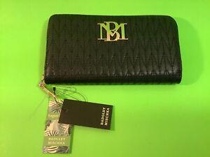 New BADGLEY MISCHKA Women's Wallet Vegan Leather Black w/Gold MSRP $59.00