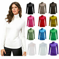Women Long Sleeve Polo Neck Roll Neck T-Shirt Top Ladies Turtle Neck Top 8 to 26