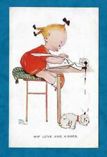 """1925 MABEL LUCIE ATTWELL PC GIRL WRITING NOTE, INK DRIPPING ON PUPPY """"WIF LOVE"""""""