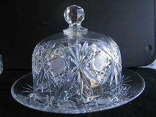 Vintage Cut Crystal Cheese Plate with Dome Cover Czech?