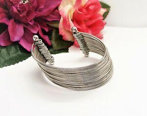 Cool! Silvertone 18 Curved Wire Shiny Cuff Bracelet!