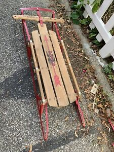 Vintage Antique Flexible Flyer III 3 Red Metal Wood Snow Sled 48""