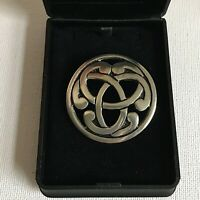 St Justin Celtic Knot Pewter Brooch Boxed Round Kilt Shawl Pin Gift Man Pin
