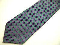 "Turnbull & Asser Mens Necktie Tie Purple Green Geometric 56"" Short"