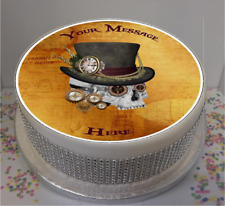 """Novelty Personalised Steampunk Skull  7.5"""" Edible Icing Cake Topper birthday"""