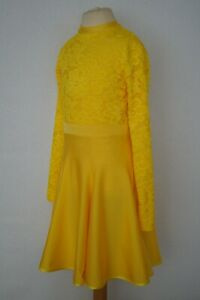 Mädchen Lateinkleid Tanzkleid Turnierkleid gelb Spitze Gr.134 NEU Sofortversand