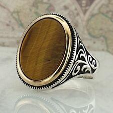 925 Sterling Silver Ring Tiger Eye Gemstone Solid HandMade Turkish Style