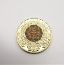 More details for the maya gold plated coin mexico mayan prophecy calendar antique souvenir coin