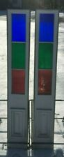 Pair Antique Color Stain Glass Entrance Door Sidelight 12x80 Windows Vtg 363-19J