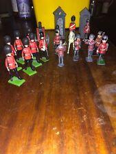 Vintage Lead Toy Soldiers Britains Welsh Guards Queen Elizabeth Horse Canon