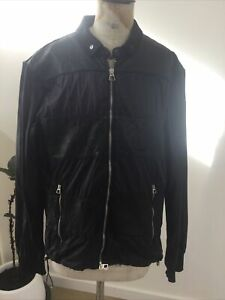 EMPORIO ARMANI JEANS Unisex Light Wind/Rain Jacket Black Leather Panels SzL
