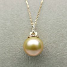 Golden Genuine South Sea Cultured Pearl Pendant 14k Yellow Gold 10.9mm Jewelry