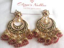 Ruby Red Traditional Rajwadi Earrings Indian/Pakistani Bollywood Style Jewellery