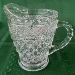 VINTAGE DIAMOND POINT CUT GLASS  LARGE CREAMER KITCHEN WARE TABLE