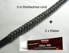Set 3 m Keramikschnur Ofendichtschnur Kamindichtung 9 mm + 2x Kleber 17 ml