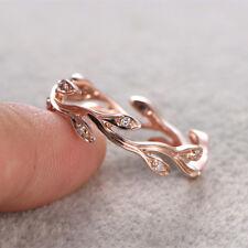 Fashion Leaf Women Ring Rose Gold Filled White Sapphire Wedding Ring Size 7