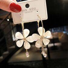 Fashion Flower Rhinestone Long Earrings Women Ear Hoop Drop Dangle Jewelry Gifts