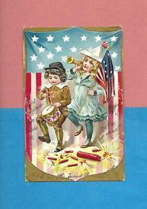 CHILDREN, FIRECRACKERS, DRUM On Uns. BRUNDAGE 4th OF JULY Vintage 1908 Postcard