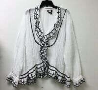 Studio 1940 Womens Plus 30/32 Blouse Button Up White Pleated Embroidered Ruffle