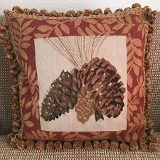 "Pine Cones Design 100% Wool Handwoven Needlepoint Decorative Pillow 20""x20"""