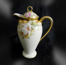 Elite Bawo & Dotter Limoges tall chocolate pot roses and gold - FREE SHIPPING