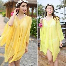 Womens Beach Bikini Yellow Kimono Cover Up Chiffon Wrap Scarf Beaded Shirt Dress