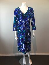 Grace Hill Size 18 Jersey Stretchy 3/4 Sleeves Multi-Coloured Dress