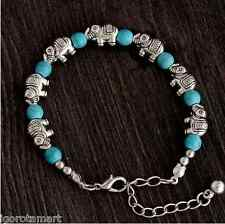 New Girl's Elephant Lobster Clasp Adjustable Chain Turquoise Bead Bracelet UK
