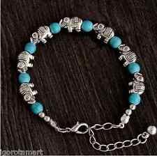 New Lady Girl's Elephant Beads Adjustable Chain Turquoise Bead Bracelet UK Post