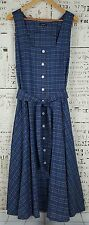 J Peterman Blue Plaid Button Front Belted Sleeveless Maxi Dress Size 18 Pockets